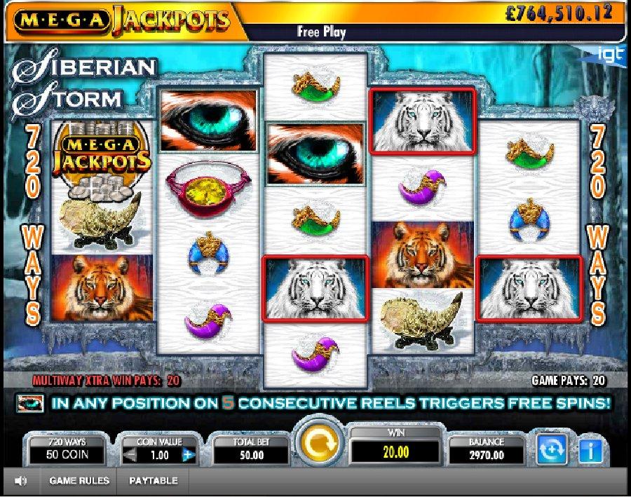 Hrací automaty Mega Jackpot Siberian Storm zdarma