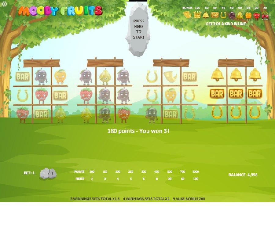 Hrací automaty Moody Fruits