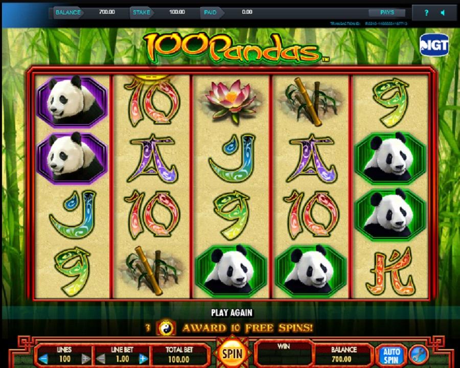 Online herní automat 100 Pandas