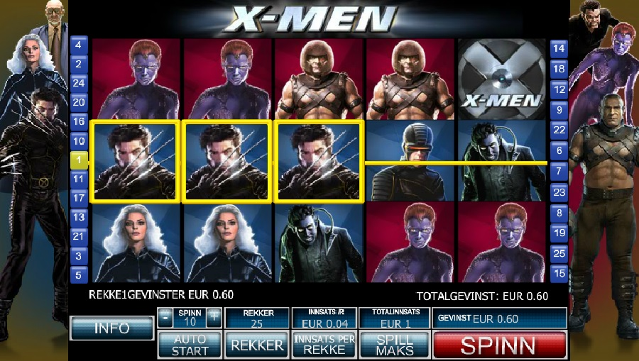 Norgesautomaten gratis spill X-men