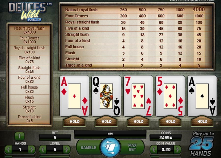 Deuces Wild Double Up Video Poker
