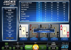 Jacks or Better Double Up Video Poker