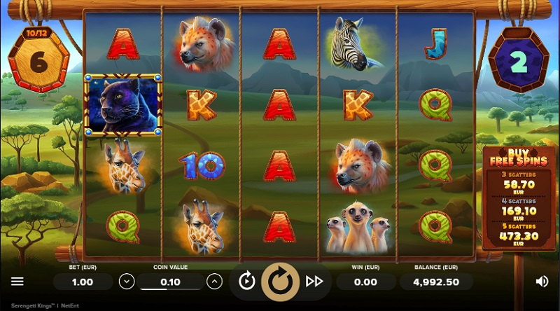 Explore one of the natural wonders of Africa with Serengeti Kings video slot.